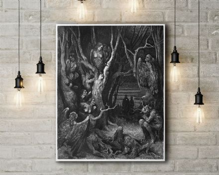 Gustave Dore: The Brute Harpies. Fine Art Canvas.